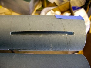 Close up of airframe fin slot.